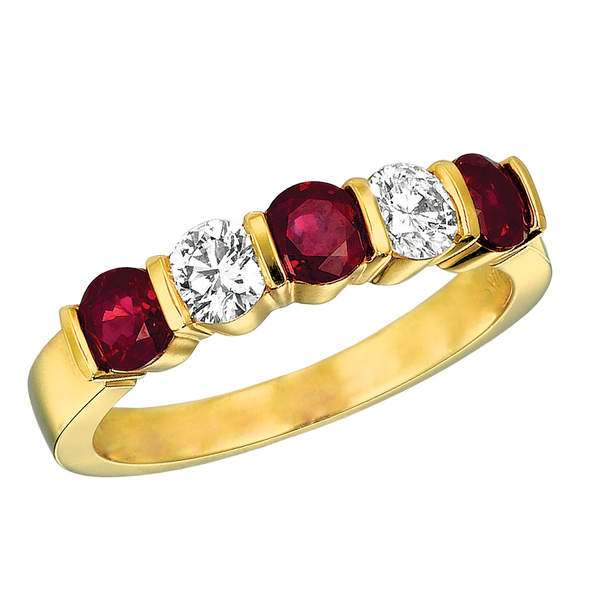 18KT Yellow Gold 5 Stone Diamond and Ruby Ring