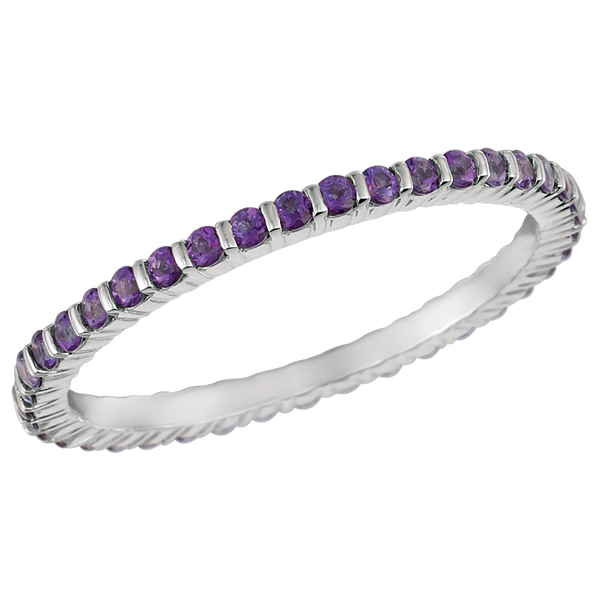18KT White Gold Violet Topaz Eternity Ring