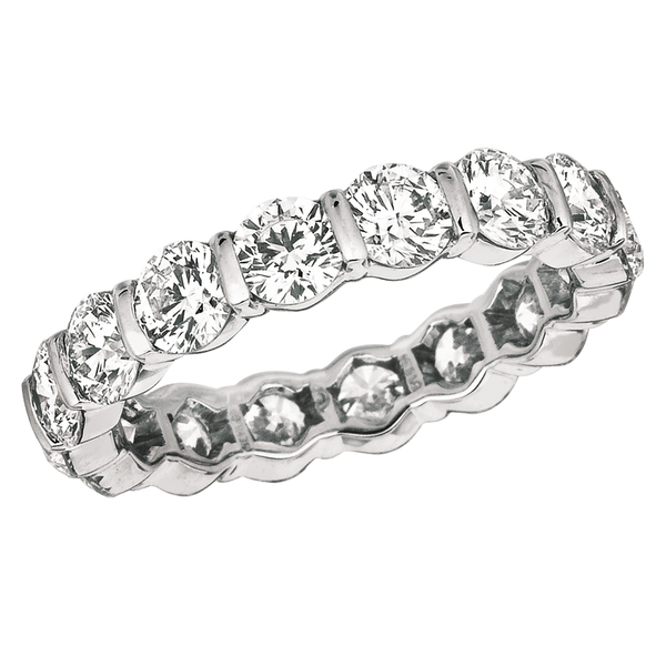 Platinum Round 3.40 ct Diamond Eternity Ring