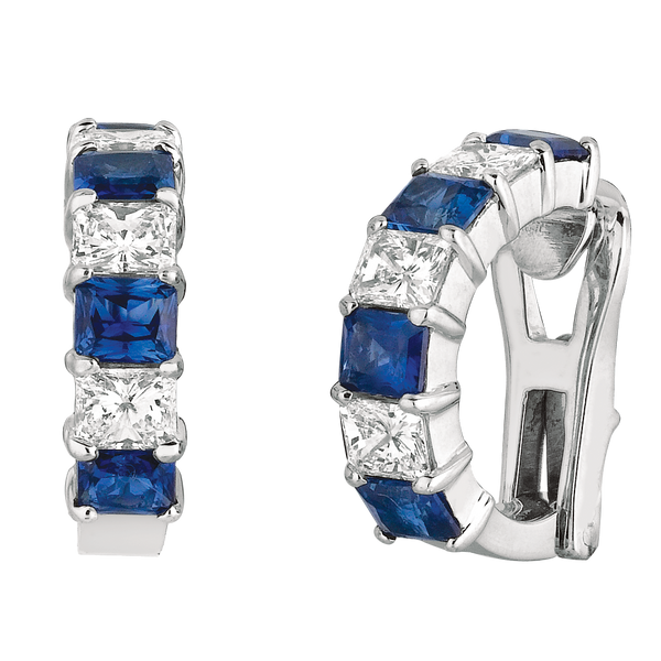 Platinum Radiant Diamond and Sapphire Earrings