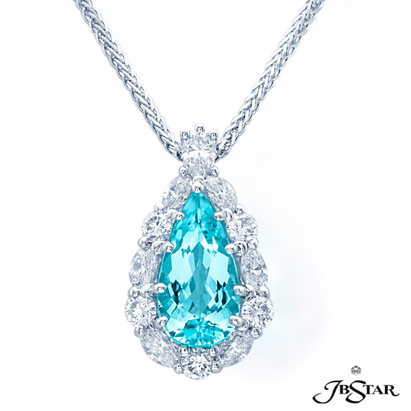 Platinum Paraiba and Diamond Pendant