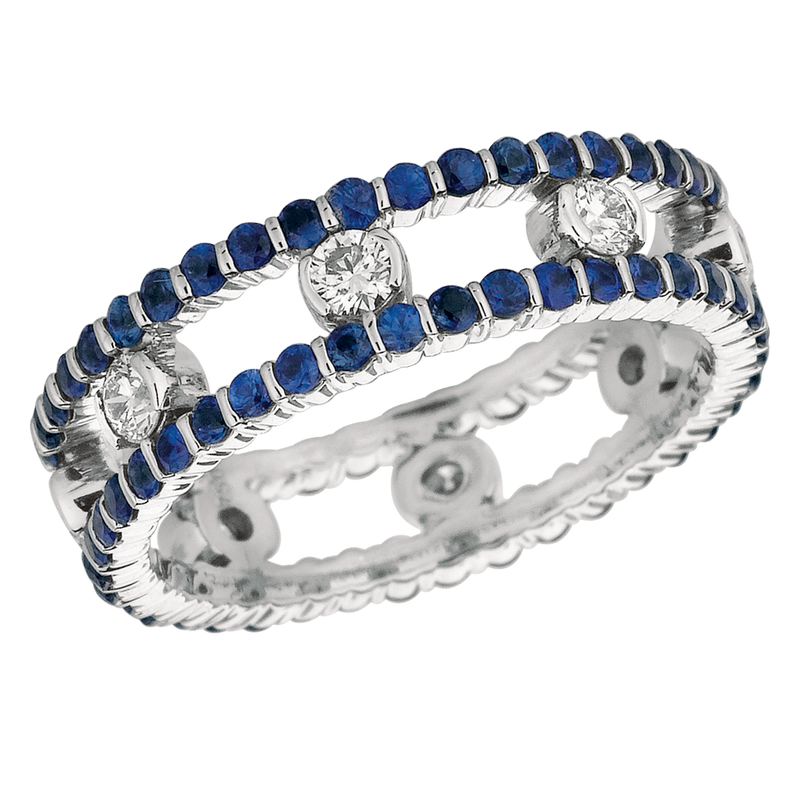 18KT White Gold 2 Row Diamond and Sapphire Dot Ring