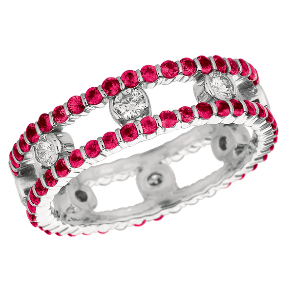 18KT White Gold 2 Row Diamond and Pink Sapphire Dot Ring