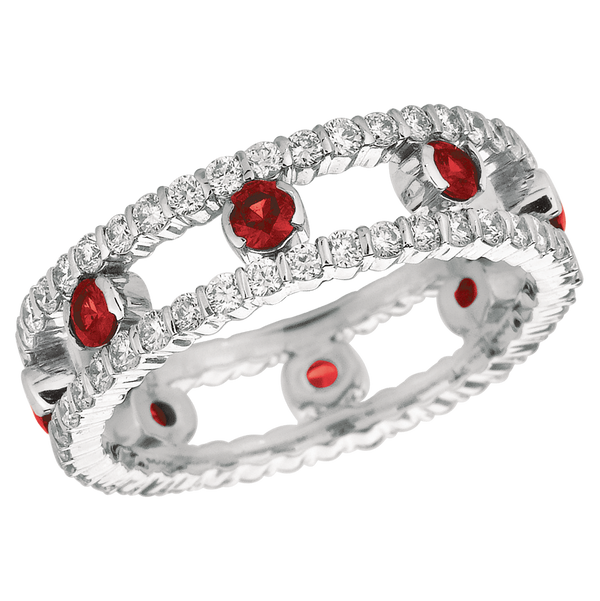 18KT White Gold 2 Row Diamond and Ruby Dot Ring