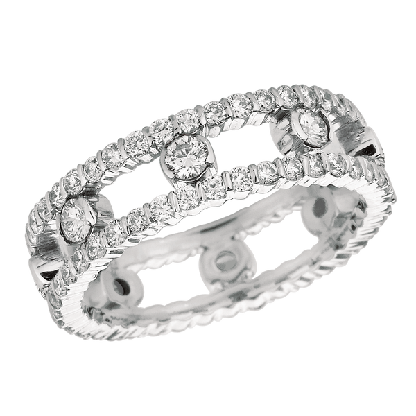 18KT White Gold 2 Row Diamond Dot Ring