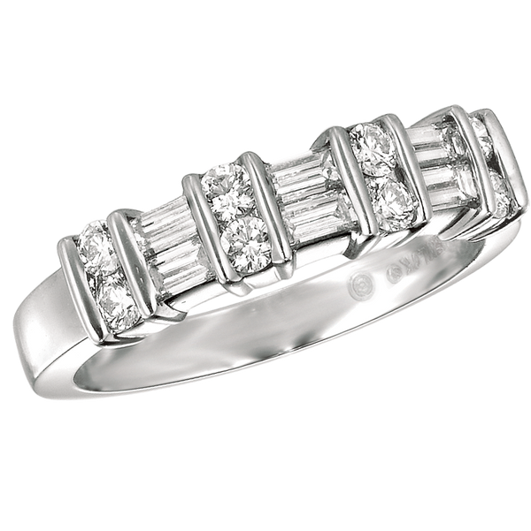 Platinum 2 Row Baguette and Round Ring