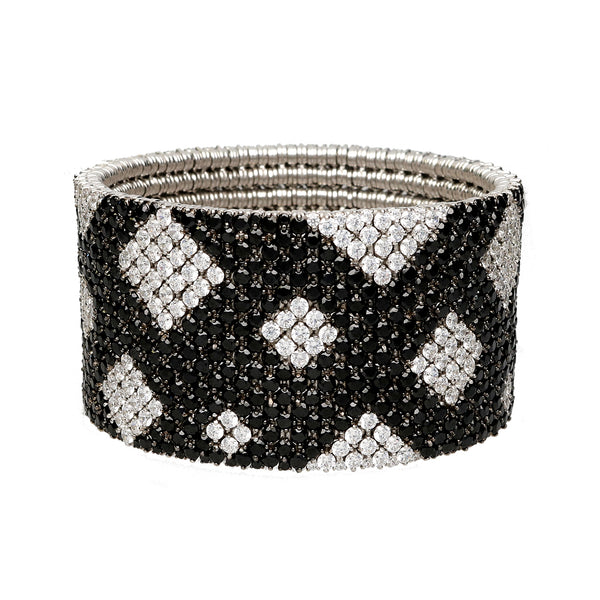Cashmere bracelet in gold with white & black diamonds