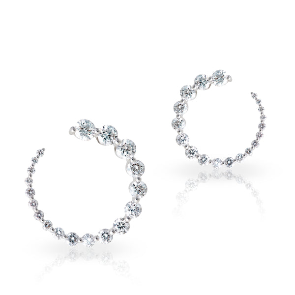 Diamond Hoop Earings 2.09 Carat Weight