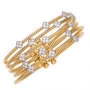 Crisscross Cuff Bracelet 18kt yellow gold & diamonds
