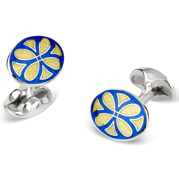 Sterling Silver Royal Blue & Bright Yellow Fancy Pattern Enamel Cufflinks