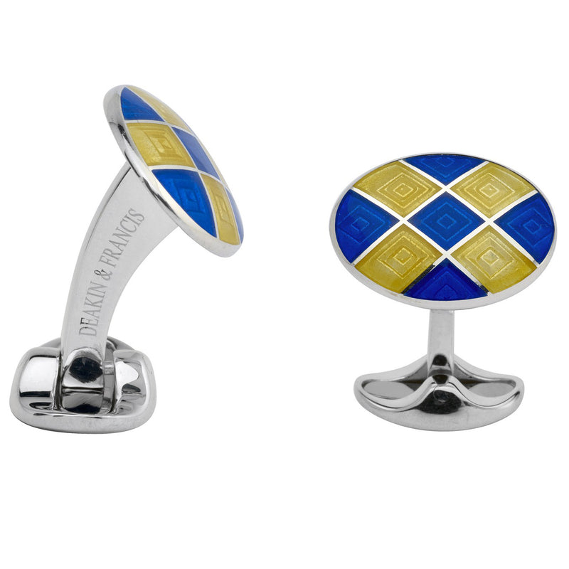 Sterling Silver Royal Blue & Bright Yellow Patterned Enamel Cufflinks