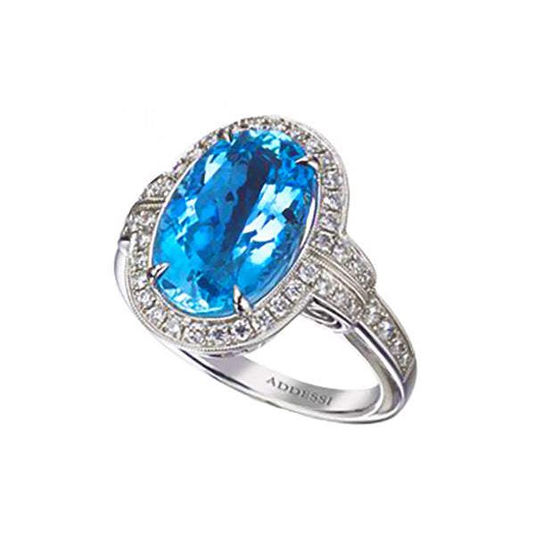 18kt White Gold Diamond and Aquamarine Ring