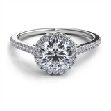 Arched Cathedral Round Pave Halo Ring