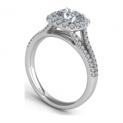 Cushion Halo Pave Round Diamond Arched Split-Shank Ring