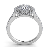 Round Double Halo Arched Cathedral Pave Ring