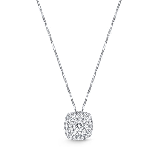 Bouquet Cushion Halo Pendant White Gold and Diamond Necklace .75 ct.