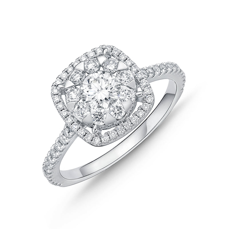 Cushion Halo Diamond Engagement Ring in White Gold 1.0 ct