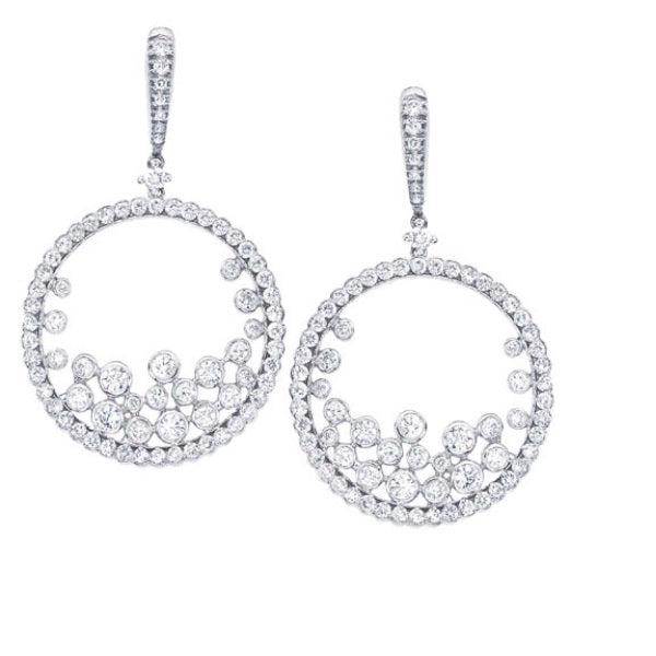 Floating style diamond earrings