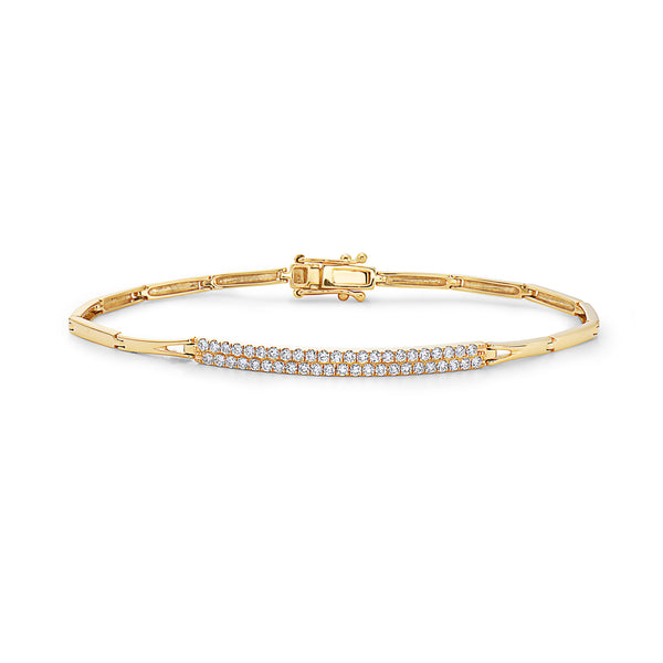 BAR LINE BRACELET WITH DIAMONDS TWO ROWS