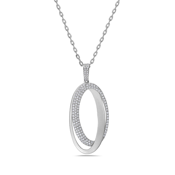 TWIN OVAL PENDANT WITH DIAMOND PAVE OVAL AND WHITE GOLD OVAL