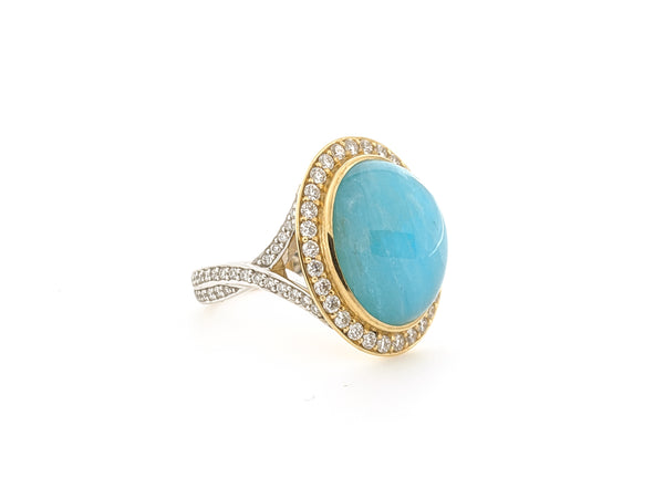 Cabachon Brazilian Paraiba and Diamond Halo Ring