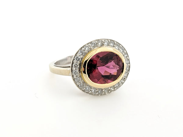 Oval Rubelite and Diamond Halo ring