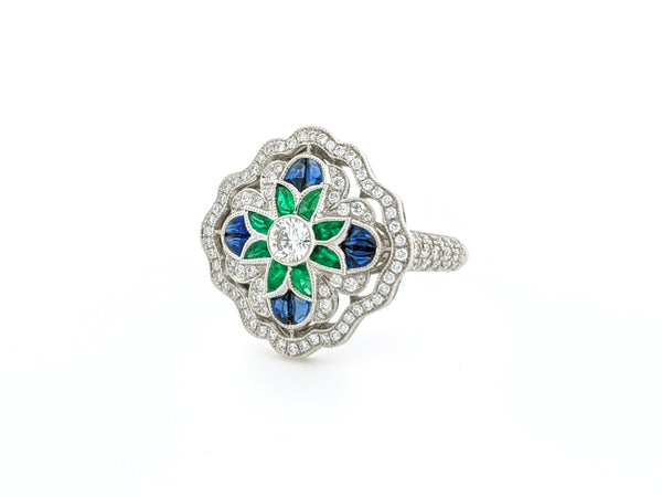 Art Deco Platinum Clover Ring