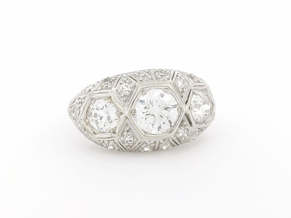 Art Deco European Cut Diamond Ring