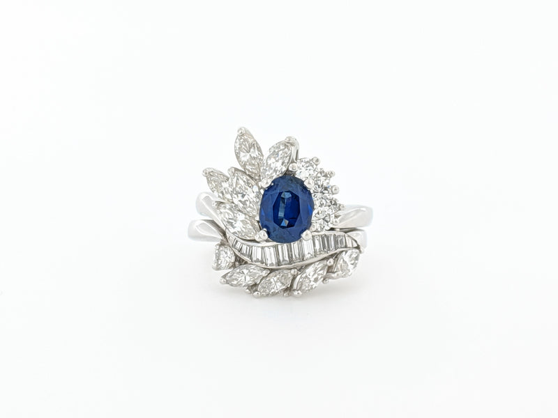 Diamond & Sapphire Ring with Accent Band