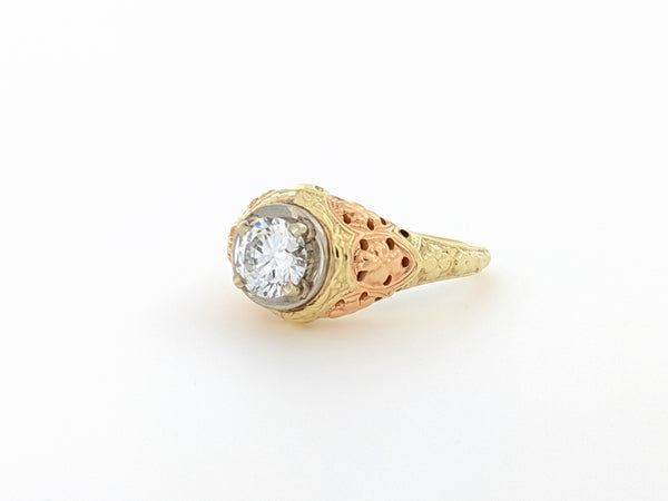 14KT Tri-Gold Ring with CZ