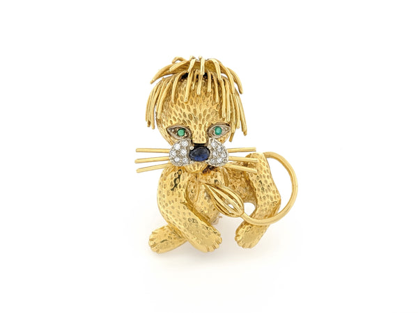 Yellow Gold Lion Pin