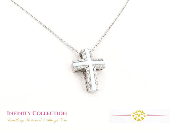 Mother of Pearl & Diamond Cross