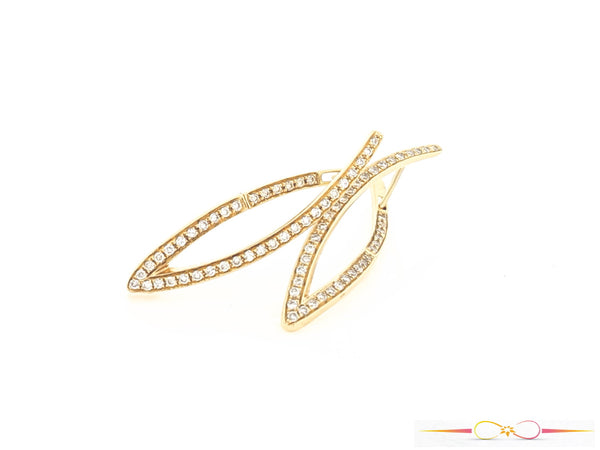 Diamond & Yellow Gold Wave Earrings