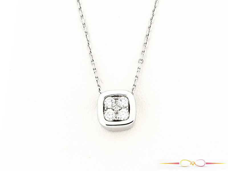 White Gold & Diamond Square Pendant