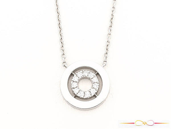 "White Gold & Diamond ""O"" Pendant"