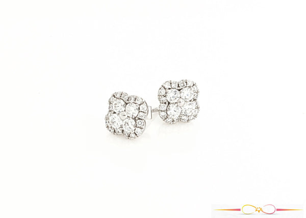 Diamond Clover Stud Earrings