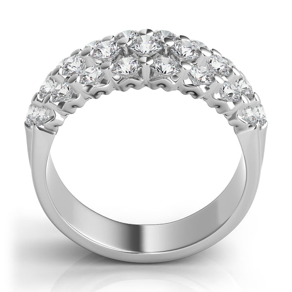 Three Row Diamond Wedding Band