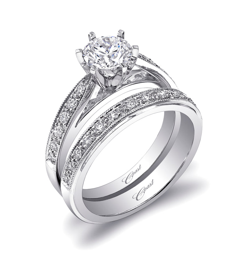 Beautiful Engagement Ring With Pave Set Diamonds