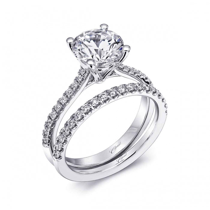 Refined Engagement Ring With Intricately Set Diamonds