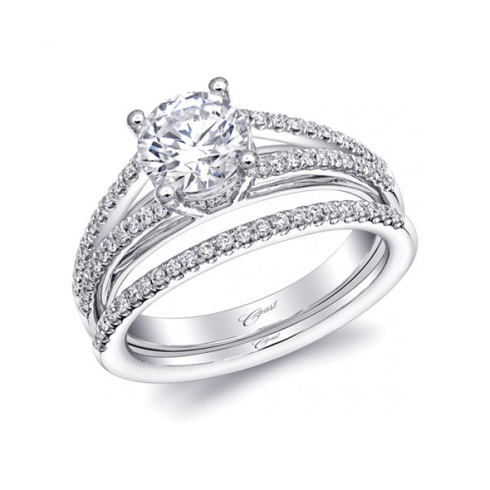Charisma Collection Engagement Ring With Diamond-Encrusted Split Shank