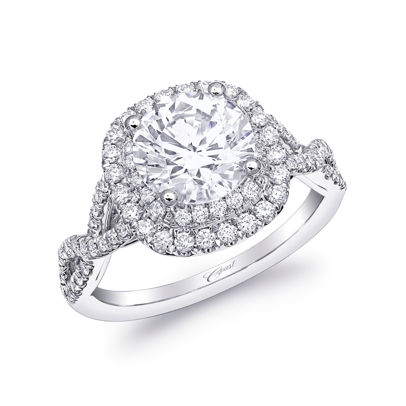 Engagement Ring With Twisted Diamond Shank