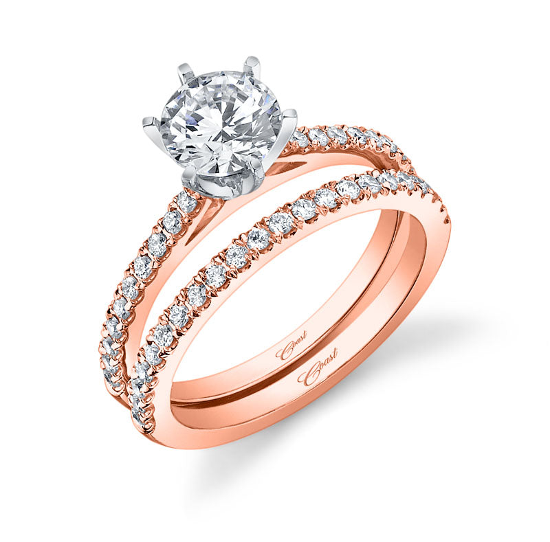 Diamond Rose Gold Engagement & Wedding Ring