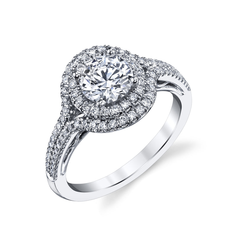 Engagement Ring With Two Rows Of Fishtail Set Diamonds.