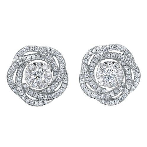 Diamond Bouquet Flower Earrings in White Gold .70 ct.