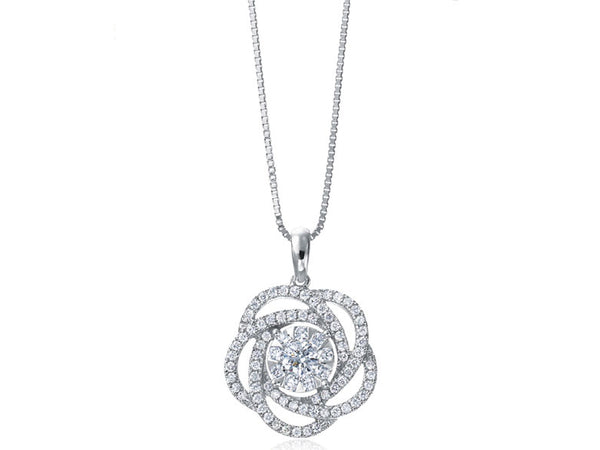 Flower Diamond Necklace with White Gold .65 ct.