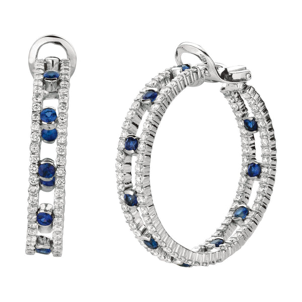 Minilok Miroir 2 Row Dot Diamond & Sapphire Hoop Earrings
