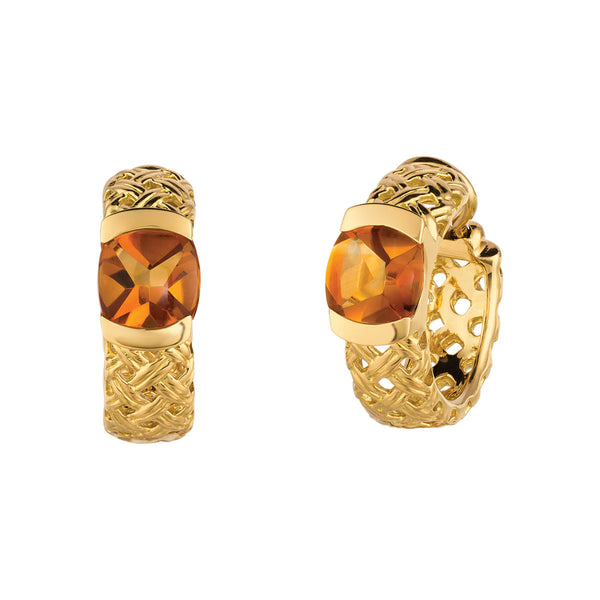 Vannerie Hoop Earrings with Citrine Cabachons