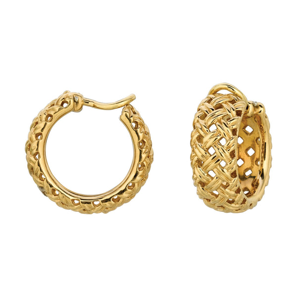 Vannerie Hoop Gold Earrings