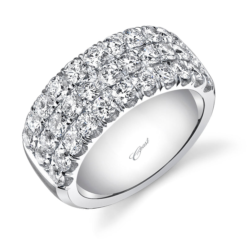 3 Row Diamond Band Ring