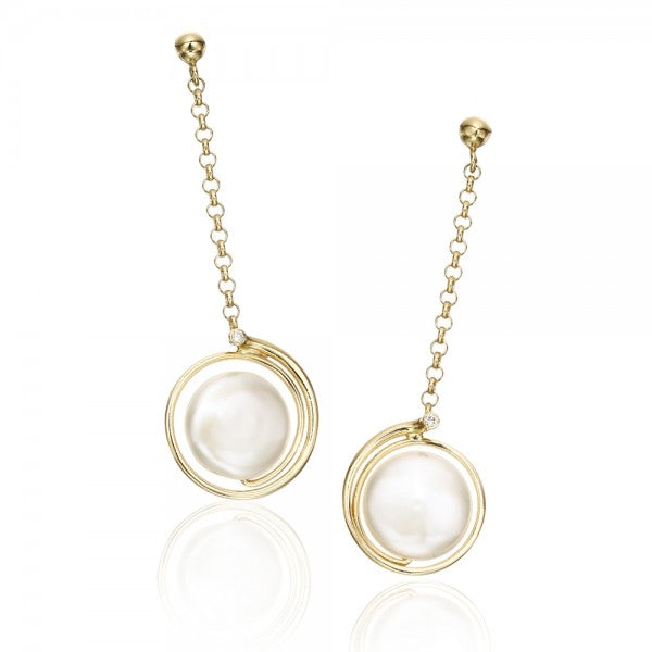 Alluring Cultured Freshwater Pearl & Diamond Gold Earrings